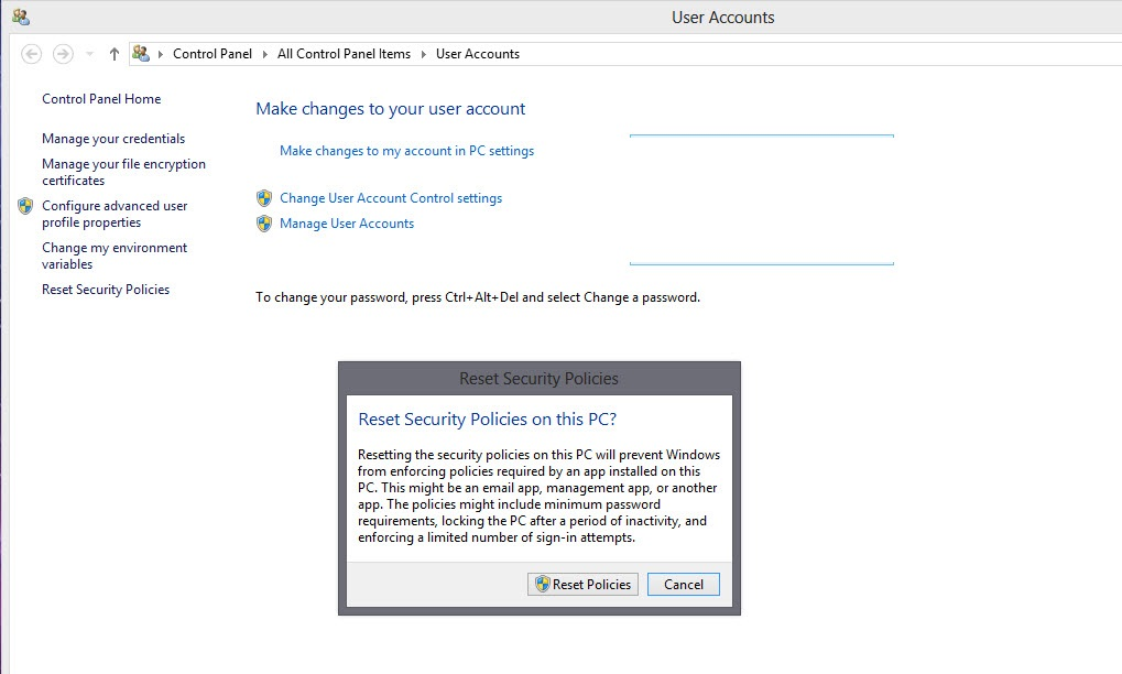 """User Accounts """"Grayed Out"""" in Windows 8 1 Pro 